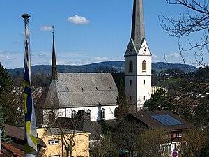 Adliswil - Church in Adliswil, from the Luftseilbahn Adliswil-Felsenegg