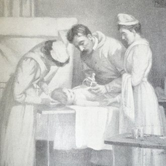 Passive immunity - This image is from the Historical Medical Library of The College of Physicians of Philadelphia. This displays the administration of diphtheria antitoxin from horse serum to young child, dated 1895.