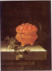 Still life with a bowl of strawberries and a spray of gooseberries