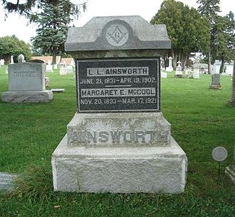 Lucien Lester Ainsworth - 1902 and 1921 - Headstone - L L Ainsworth and Margaret E McCool - West Union Cemetery, West Union, Fayette, Iowa, United States