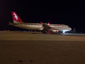 Faisalabad International Airport - Air Arabia A320 starting up for its return flight to Sharjah.