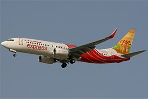 Air India Express - An Air India Express Boeing 737-800 approaching Dubai International Airport in 2008