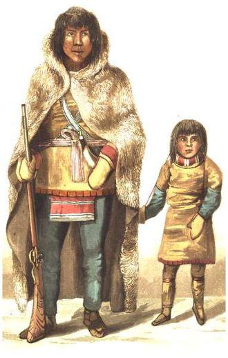 Coppermine expedition - Native chief Akaitcho with his son