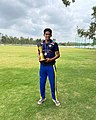 Akash Bowling in a match for nighwatchman sports 03.jpg