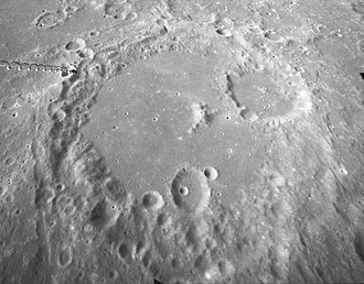 Albategnius (crater) - Oblique view from Apollo 16, facing south, with Klein in upper right
