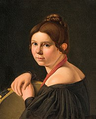 Mrs. Marie Lehmann (1821-1849), born Puggaard, as Italian woman with tambourine