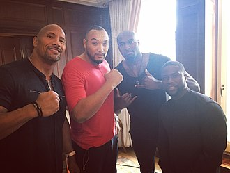 Kevin Hart - Kevin Hart with Dwayne Johnson and German rapper Albert Trovato in Berlin, Germany, June 2016