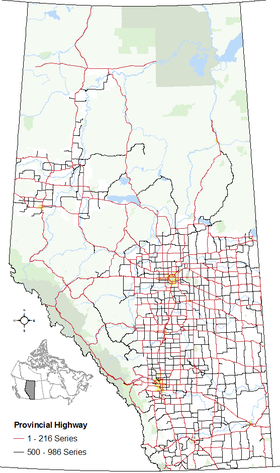 The alignments of both series of highways within Alberta's provincial highway system within other base features including hydrography, national/provincial parks, cities and city equivalents, and the provincial green and white zones.