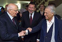 Albertazzi saluta Giorgio Napolitano, accompagnato da Ignazio Marino, giugno 2014