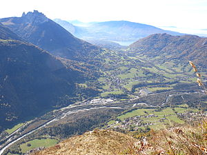 Alex, Haute-Savoie - A view of the village from the Parmelan, with Lake Annecy in the background