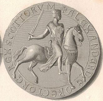 Royal Banner of Scotland - Reverse of Alexander II's Great Seal, displaying the Lion rampant on saddle and shield.