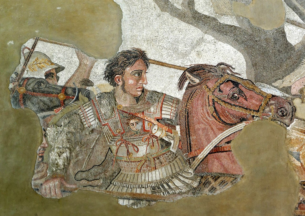 1280px-Alexander_and_Bucephalus_-_Battle_of_Issus_mosaic_-_Museo_Archeologico_Nazionale_-_Naples_BW.jpg