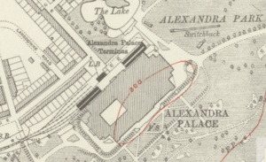 Alexandra Palace railway station (1873–1954) - Alexandra Palace station on a 1920 map