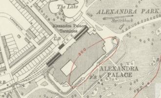 Alexandra Palace railway station (1873–1954) - Alexandra Palace station on a 1920 map