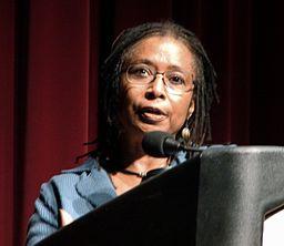 Alice Walker giving a speech at a podium