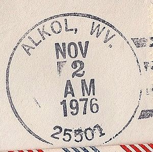 Alkol, West Virginia - Image: Alkol WV postmark