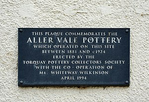 Aller Vale Pottery - Wall plaque marking the location of the pottery