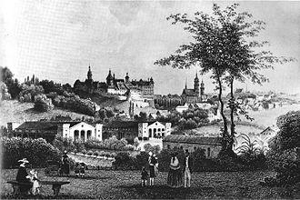 Leipzig–Hof railway - Altenburg station in about 1860