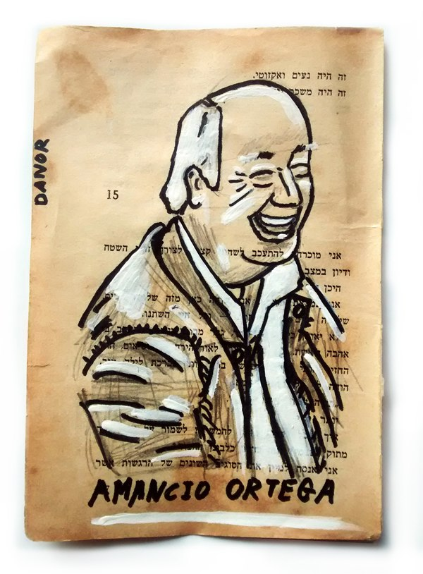 Amancio Ortega Portrait Painting Collage By Danor Shtruzman