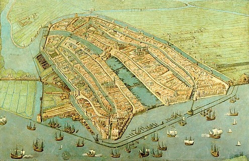 A 1538 painting by Cornelis Anthonisz showing a bird's-eye view of Amsterdam. The famous Grachtengordel had not yet been established. Amsterdam in 1538.JPG