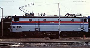 EMD AEM-7 - Image: Amtrak X995 at Wilmington Shops, August 1976