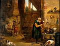 An alchemist in his laboratory. Oil painting by a follower o Wellcome V0017693.jpg