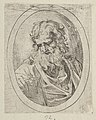 An apostle with a long beard looking down at an open book, in an oval frame, from Christ, the Virgin, and Thirteen Apostles MET DP837894.jpg