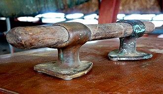 Cleat (nautical) - An original cleat from HMY Britannia