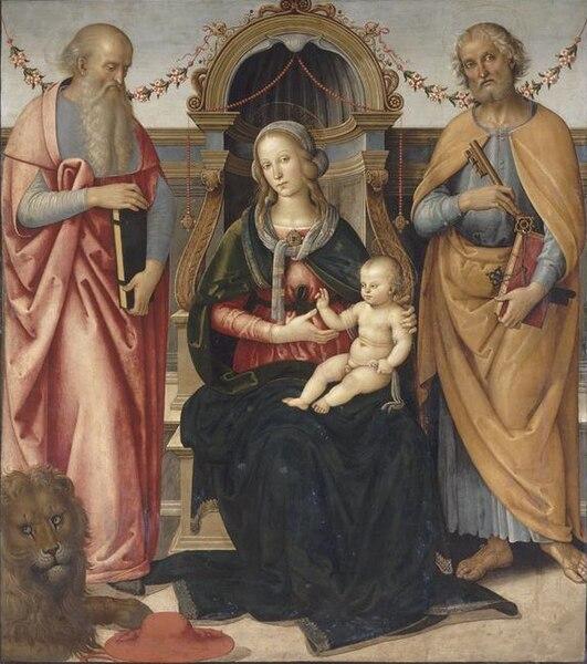 File:Andrea d'Assisi (Il Ingegno), La Vierge en trône avec l'enfant entre saint Jérôme et saint Pierre (c. 1490).jpg
