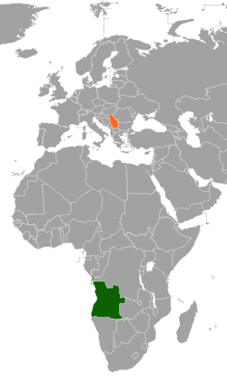Map indicating locations of Angola and Serbia