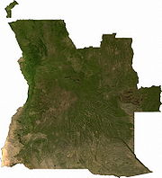 Satellite image of Angola, generated from raster graphics data supplied by The Map Library