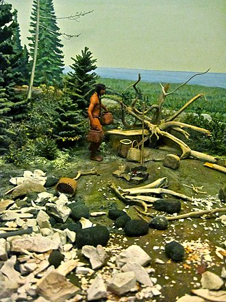 Mississippian copper plates - Diorama of Anishinaabe people mining copper near Lake Superior