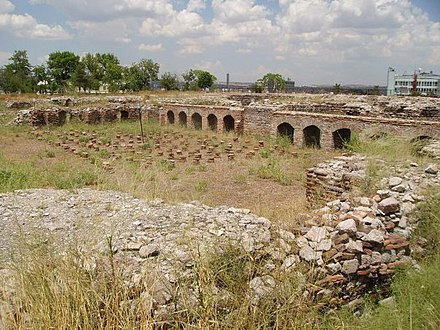 The Roman Baths of Ankara were constructed by the Roman emperor Caracalla (212-217) in honor of Asclepios, the God of Medicine, and built around three principal rooms: the caldarium (hot bath), the tepidarium (warm bath) and the frigidarium (cold bath) in a typically laid-out 80-by-120-metre (260-by-390-foot) classical complex. AnkaraRomanBaths1.jpg