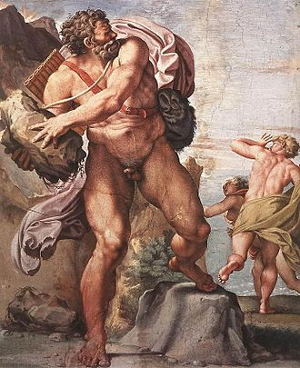 Bolognese School - Annibale Carracci, the Cyclops Polyphemus in his frescos for the Palazzo Farnese