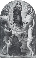 The Assumption of the Virgin with Saint John the Baptist, aint Sebastian and a Donor