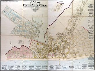 Cape May Historic District - This 1886 map of Cape May includes advertisements for several of the hotels listed below, several of the builders and contractors, as well as for some of the original residents of the houses, such as attorney James Hildreth.