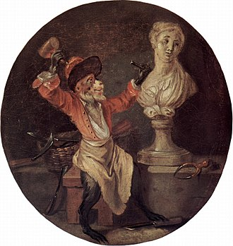 Singerie - A copy of The Monkey Sculptor, originally painted c. 1710 by Antoine Watteau