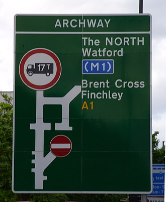 A1 in London - Image: Archway roundabout road sign