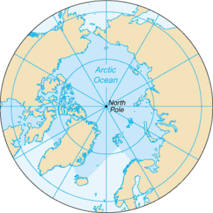Arctic Ocean - Map of the Arctic Ocean, with borders as delineated by the International Hydrographic Organization (IHO), including Hudson Bay (some of which is south of 57°N latitude, off the map).