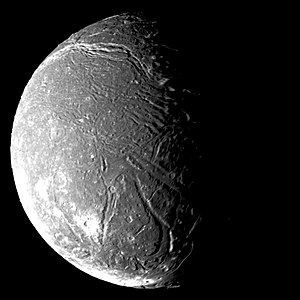 Ariel (moon) - Ariel in greyscale by Voyager 2 in 1986. Numerous graben are visible, including the Kachina Chasmata canyon system stretching across the upper part of the image.