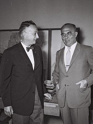 Levi Eshkol - Levi Eshkol (right), Israel's Finance Minister, meeting with Arthur Levitt Sr. (left), New York State Comptroller (1959)