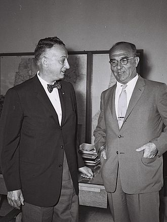 Levi Eshkol - Levi Eshkol (right), Israel's Finance Minister, meeting with Arthur Levitt Sr. (left), New York State Comptroller (1959)