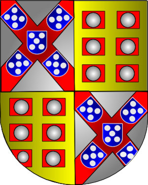 Count of Tentúgal - Coat of Arms of Rodrigo de Melo, 1st Count of Tentúgal and 1st Marquis of Ferreira, mixing the Braganzas coat of arms with the Melo family's.