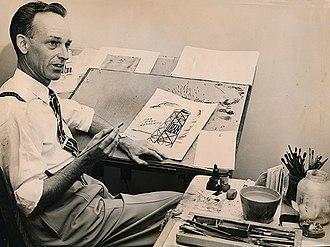 Arthur Bimrose - Arthur Bimrose working on an editorial cartoon regarding Iranian conflict in the mid-1950s.