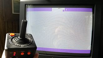 "Adventure (Atari 2600) - The Adventure Easter egg as it exists in the Atari Classics 10-in-1 TV Games self-contained unit, by Jakks Pacific. The creator's name, Warren Robinett, was removed and replaced with ""TEXT?"""
