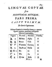 Das koptische Alphabet(Auszug aus Prodromus coptus, 1636) (Quelle: Wikimedia)