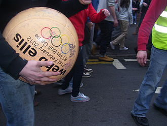 Atherstone - The ball played in the 813th Atherstone Ball game Shrove Tuesday 21 February 2012.