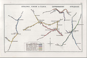 Londonderry and Lough Swilly Railway - Railway Clearing House map with stations in Letterkenny.