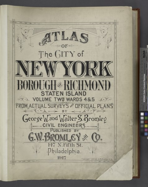 File:Atlas of The City of New York - Borough of Richmond Staten Island Volume Two Wards 4 and 5 - From Actual Surveys and Official Plans by George W. and Walter S. Bromley Civil Engineers. Published by NYPL1646265.tiff