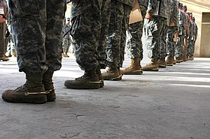 At attention - Soldiers from the US 1st Air Cavalry Brigade, 1st Cavalry Division standing at attention